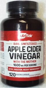 Nutriflair Raw Unfiltered Apple Cider Vinegar 1600 mg Supplement - 120 Capsules