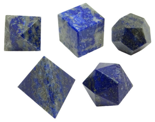 5 Stück Lapiz Lazuli Platonische Solide Heilige Balancing Healing Edelstein