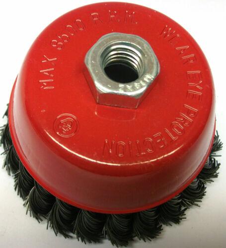 Twist Knot Wire Cup Brosses Roue 115 mm pour meuleuse d/'angle 4 1//2 Pouces M14 WB002