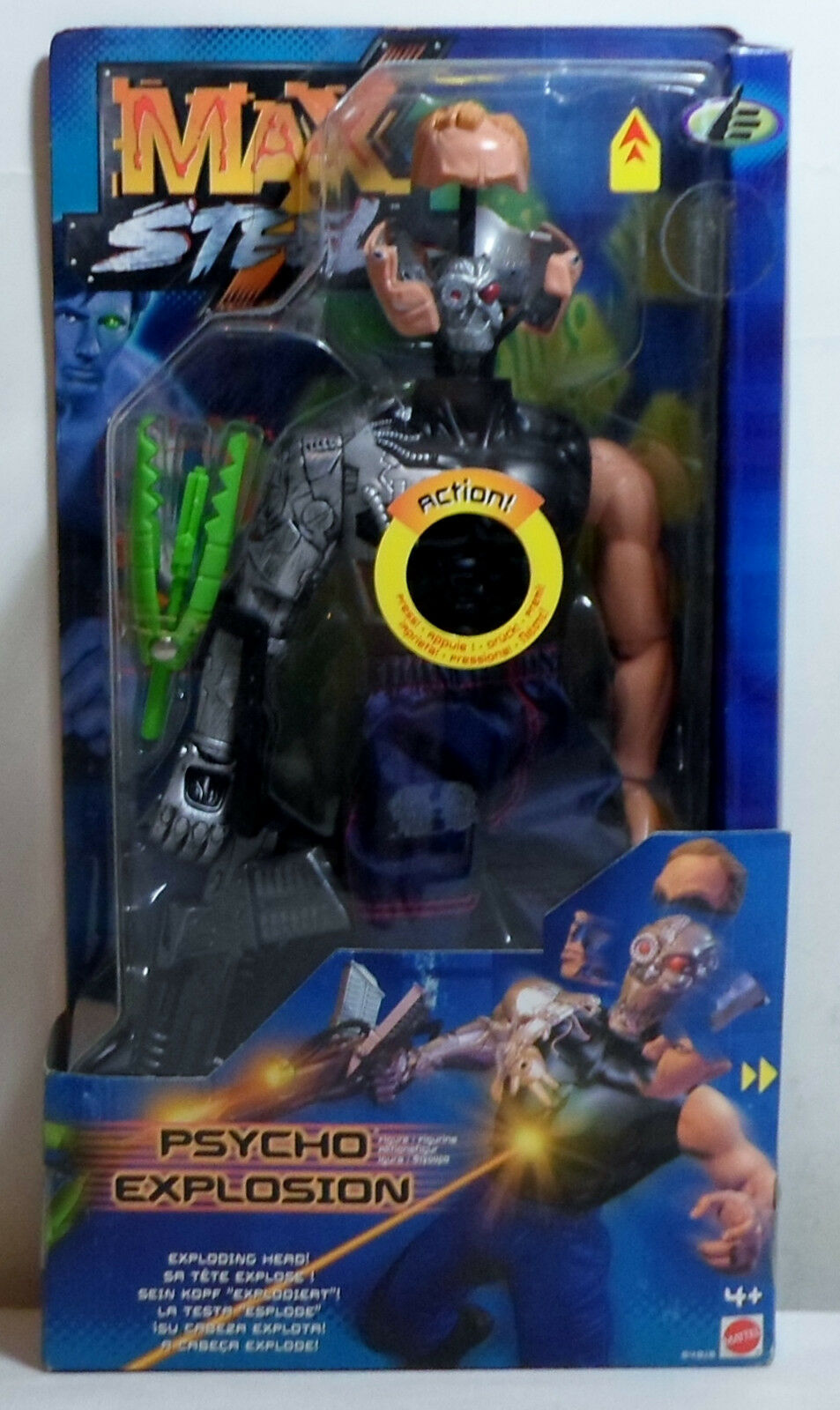 MATTEL 2000 MAX STEEL PSYCHO EXPLOSION 12'' EUROPEAN ACTION FIGURE MOSC SEALED