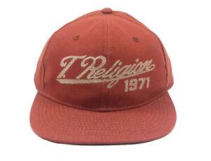True Religion Jeans Denim Baseball Cap Flat Brim Hat Saffron Orange ... 36573b489b9e