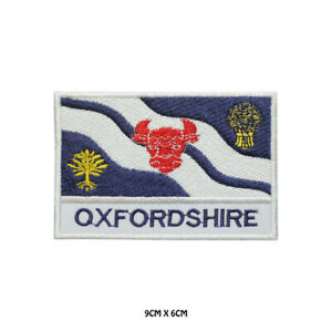 OXFORDSHIRE County Flag With Name Embroidered Patch Iron on Sew On Badge