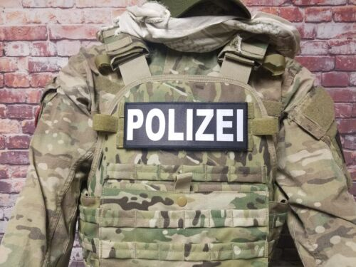 "3x8/"" POLIZEI Black White Hook Back Morale  Patch Badge for Plate Carrier German"