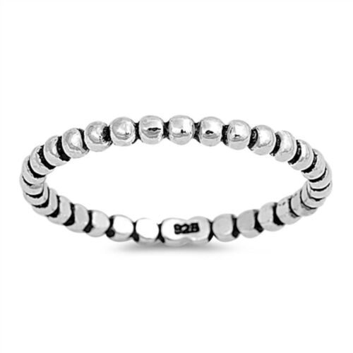 Bead Eternity Band .925 Sterling Silver Ring Taille 4-11