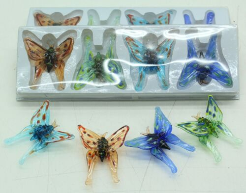 FREE P /& P NEW Set Of 12 Colourful Handmade Glass Butterflies