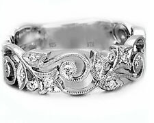 Luxury 925 Sterling Silver Ladies Wedding Engagement Bridal Band Ring- UK SELLER