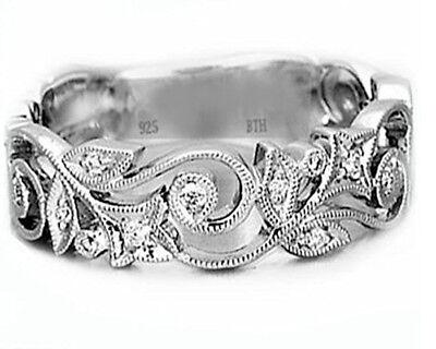 Obligatorisch Luxury 925 Sterling Silver Ladies Wedding Engagement Bridal Band Ring- Uk Seller Elegante Form