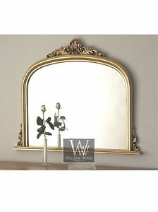 Amarone-Gold-Ornate-Overmantle-Vintage-Wall-Mirror-38-034-x-45-034-X-Large