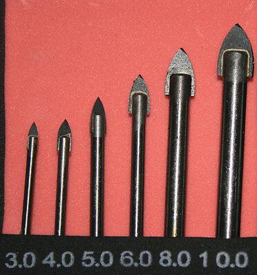 10mm Glasbohrer Set Hartmetall Bohrer Fliesenbohrer Keramikbohrer Ø 3mm 6 tlg