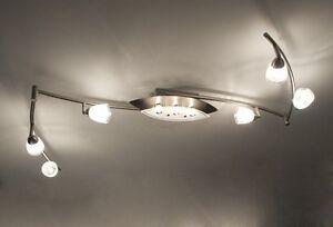 Plafoniere Design : Plafoniera 6 faretti 3 luci lampada da soffitto design vetro
