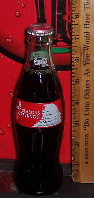 1991 SEASONS GREETINGS SANTA CLAUS 8 OUNCE GLASS  COCA COLA BOTTLE FULL