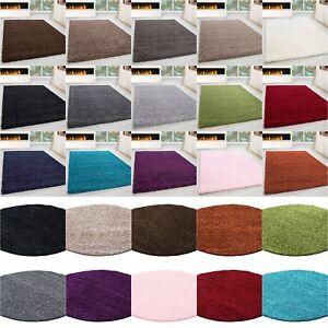 Teppich Hochflor Wohnzimmer Langflor Shaggy unifarbe vers. Farben und Größen