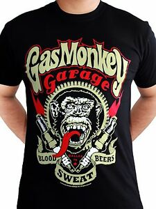 Details about Gas Monkey Garage Spark Plugs Blood Sweat Beers Licensed Black Mens T shirt
