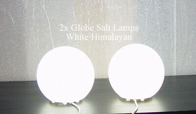 2x Globe Planet Ball Salt Lamp White 1-2kg Usb Cable Led Bulb Therapeutic Light Uitstekende (In) Kwaliteit