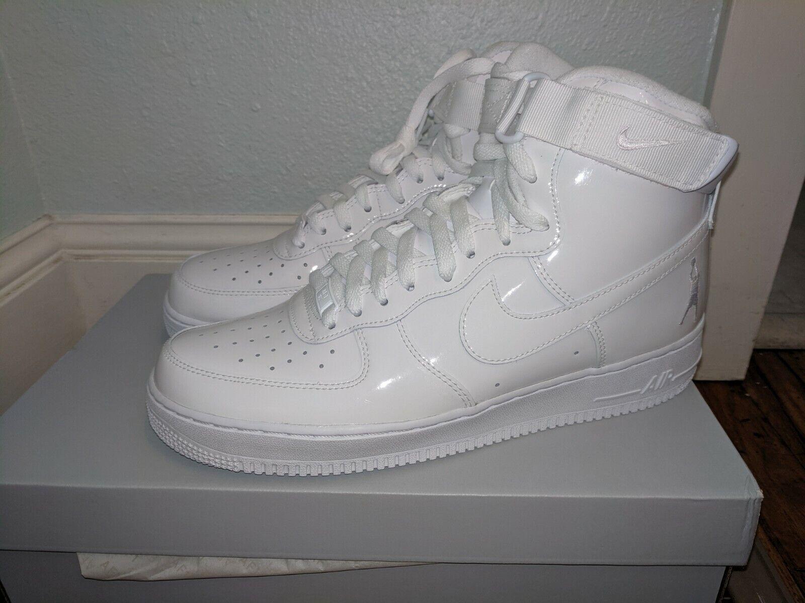 Nike Air Force 1 I hi Reno QS sheed triple blanco Patent 10.5