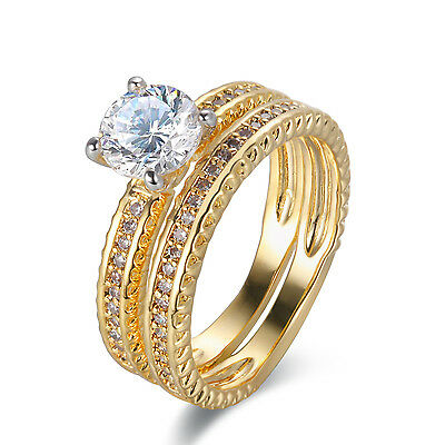 1.40 Ct Round CZ 14K Yellow Gold Plated Wedding Band Engagement Ring Set Size 7