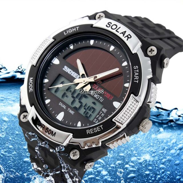Luxury Mens Solar Water Quartz Sport Army SKMEI Wrist Watch Resin Band UTAR