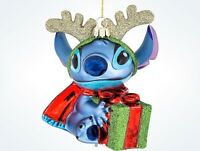 Disney Parks Glitter Blown Glass Stitch Christmas Ornament With Tags