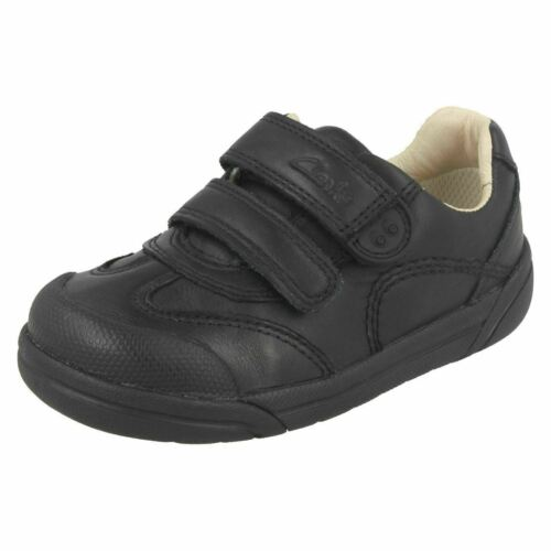 Jen R1A Clarks lilfolkzoo Garçons//Bébé en Cuir Noir École Chaussures G Coupe