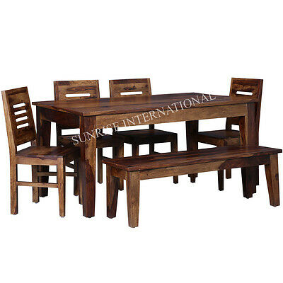 Contemporary Wooden Dining Table with 4 Chair & 1 Bench Set (SUN-DSET674)