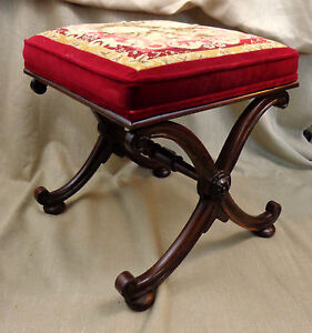 Antique-Mahogany-Footstool-Curule-Bench-Stool-Original-Needlepoint-Embroidery