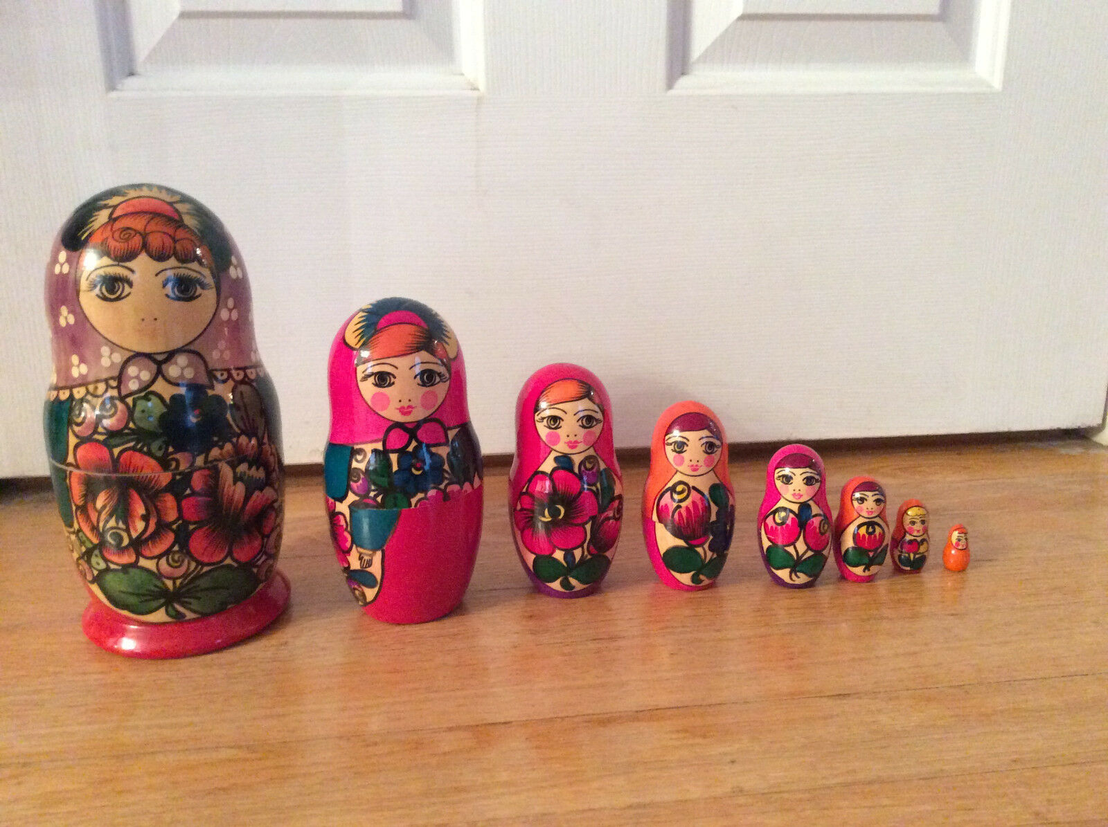 8 1 2   Matryoshka Russian 8 Piece Nesting Dolls Hand Painted bought in Russia