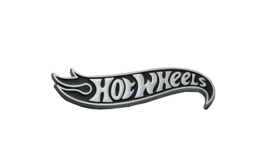 1x Right Hot Wheels Logo Side Fender Hood Badge Decal Emblems Chrome Black