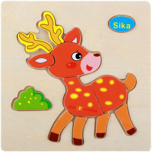 Animal Wooden Puzzle Jigsaw Cartoon Educational Learning Tool Baby Kids Toy DIY
