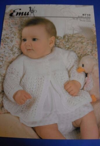 Emu Baby Matinee Coat Knitting Pattern 8710