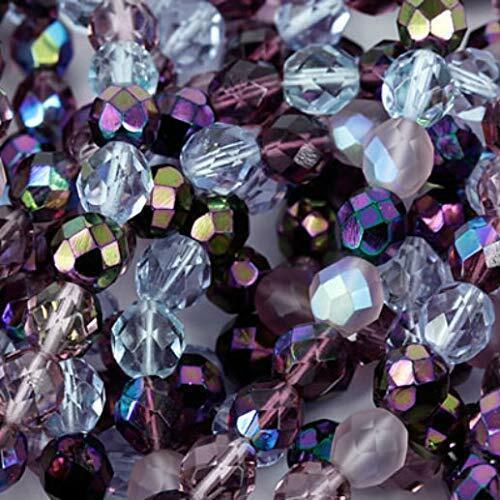 """100 Beads #93 Czech Fire Polish Glass Beads 4mm Round /""""Lilac/"""" Purple Mix"""