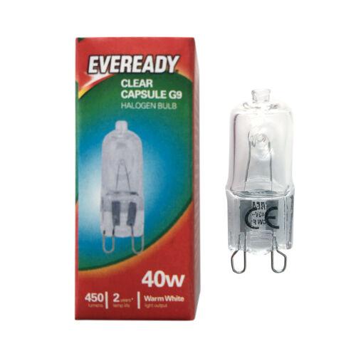 Kosnic//Eveready G9 HALOGEN 18w=25w,25w//40w 28w//33=40w//42w=60w DIMMABLE bulbs UK