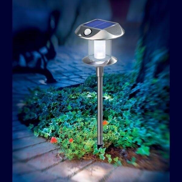 2x LED Solar Stand Leuchte Lampe PIR Bewegungsmelder Edelstahl Garten Akku Modul