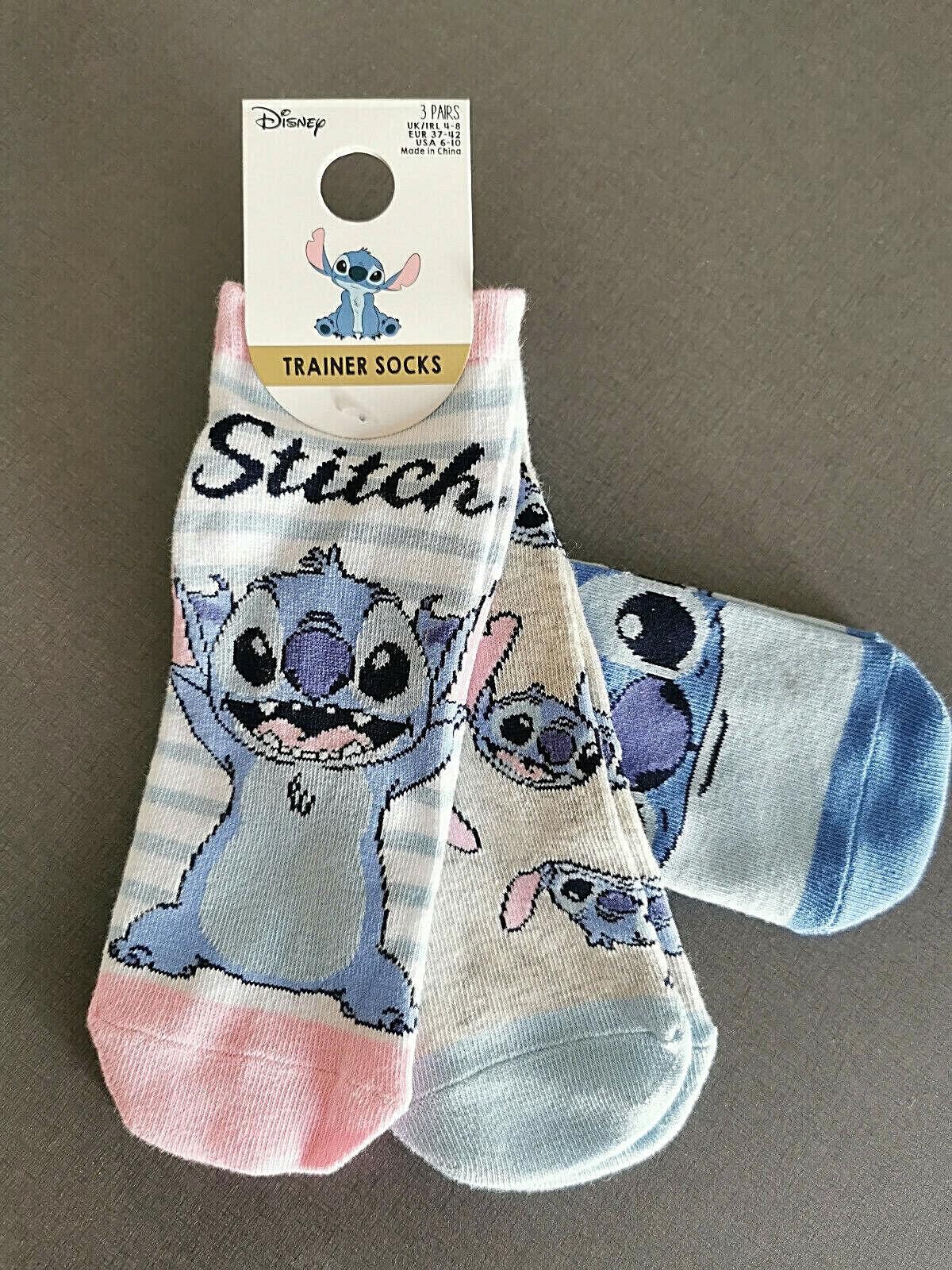 3 Paar Disney Lilo und Stitch Damen Sneaker Socken Strümpfe Lustig Bunt 37-42
