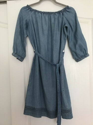 Paige Blue Denim Chambray Off Shoulder Dress With