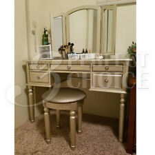 silver vanity table with mirror and bench. Silver Tri Folding Mirror Vanity Set Makeup Table Dresser w  Bench 5 Drawer Wood White 4