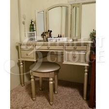 Silver Tri Folding Mirror Vanity Set Makeup Table Dresser w/ Bench 5 Drawer Wood