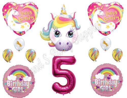5th RAINBOW UNICORN Happy Birthday Party Balloons Decoration Pink Purple Girl …