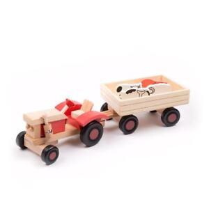 Trecker Holzspielzeug Traktor Holz Holztrecker Anhänger Fahrzeug Tiere Auto neu Bauernhof