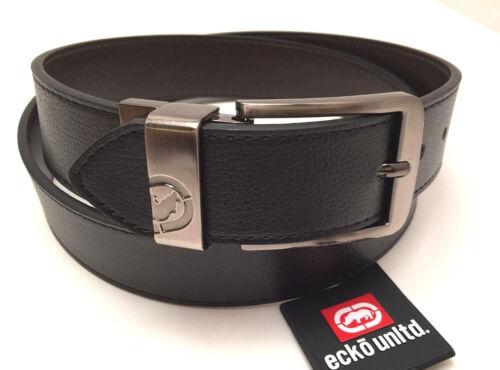 ECKO UNLTD Men/'s Leather Belt *Black~Brown Reversible w//Gray Buckle Various Size