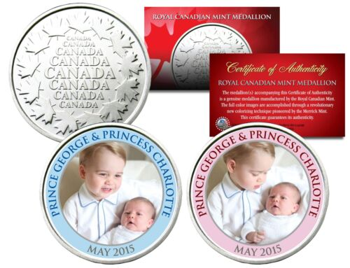 PRINCE GEORGE /& PRINCESS CHARLOTTE Set of 2 Royal Canadian Mint Medallion Coins