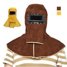 Welder Mask Safety Protector Cap Leather Welding Hood Helmet Brownyellow