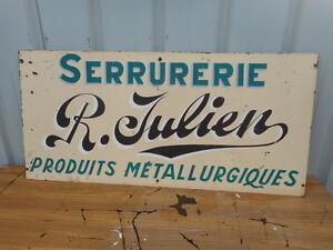 """Glorieux Grande Plaque Publicitaire """"métallurgie R. Julien"""" Epoque 1950/70 En Metal"""