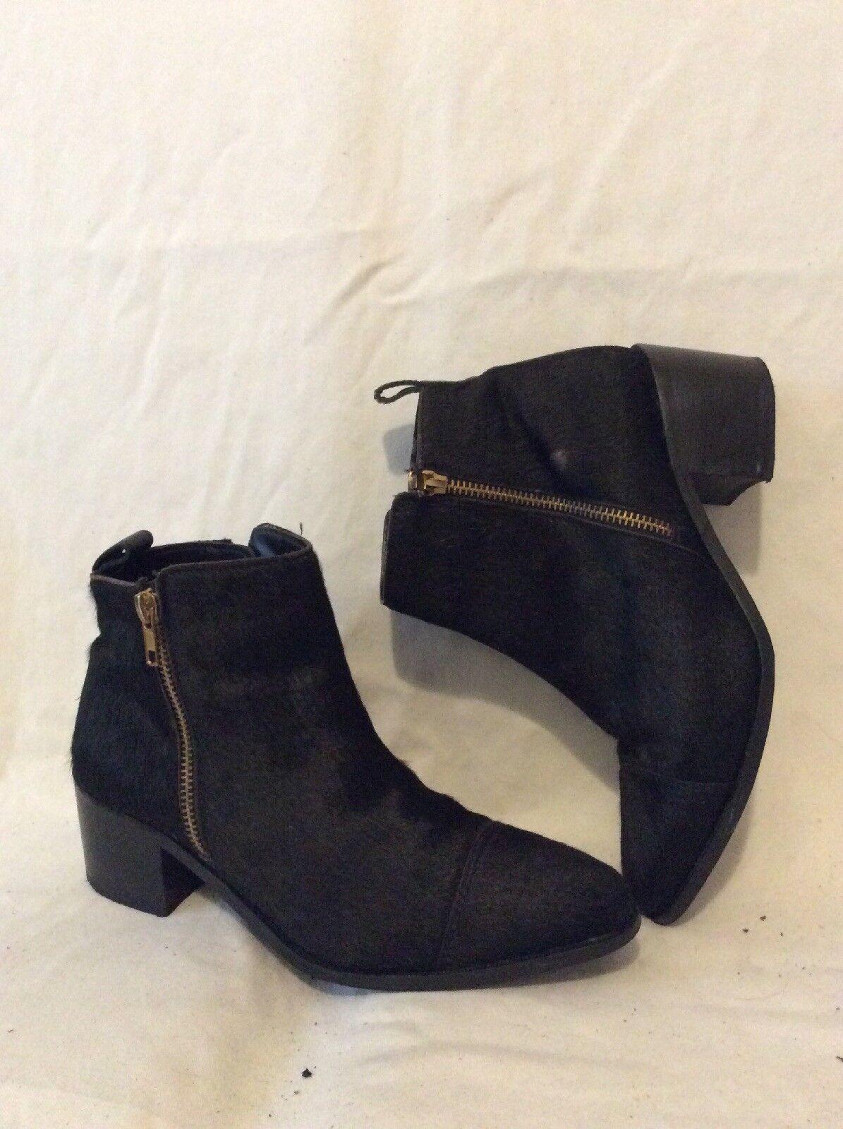 Faith Black Ankle Leather Boots Size 4