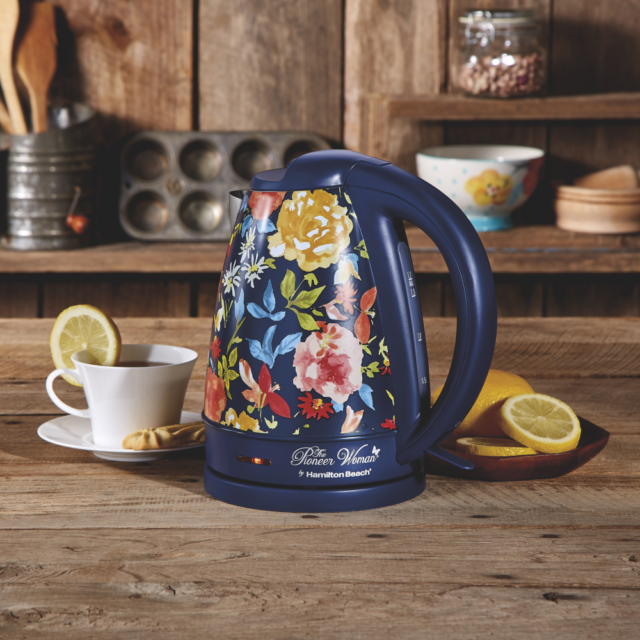 Electric Kettle 1.7 Liter Vintage Blue Fiona Floral
