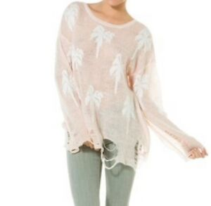 New-268-Wildfox-Couture-Santa-Barbara-Lennon-Sweater-Sz-Small-Georgia-Peach