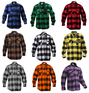 Mens Brawny Buffalo Plaid Flannel Shirt Long Sleeve Heavyweight