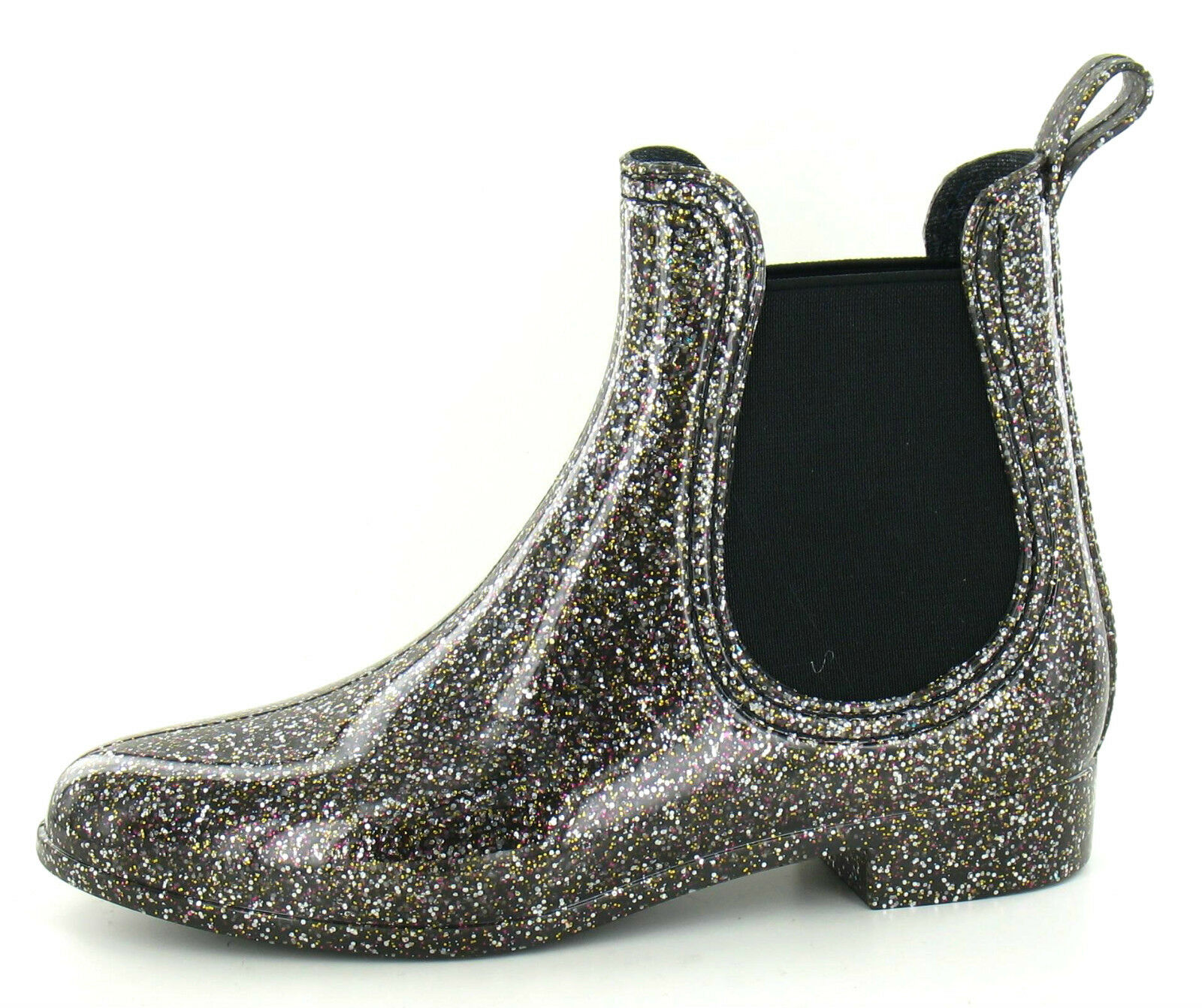 Ladies Black Glitter Ankle Wellys with Elastic Gussets  1216