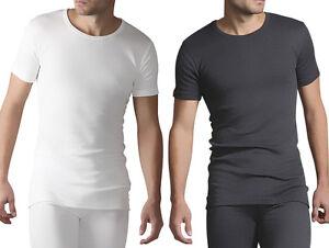 Heat Holders - Mens Grey White Cotton Thermal Underwear Short Sleeve Vest Top