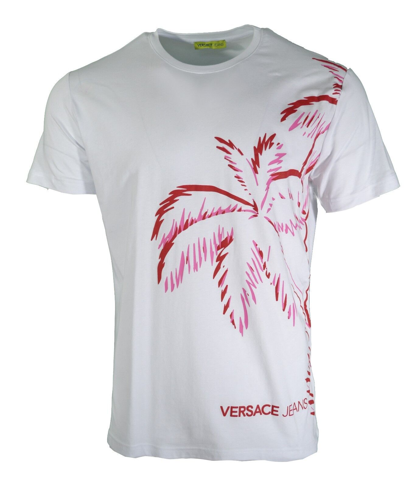 BNWT VERSACE JEANS WHITE RED PINK PALM TREE TROPICAL SUNSET PRINT T-SHIRT 2018