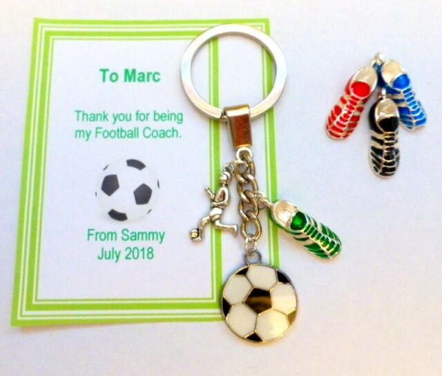 759388c74 Thank you Gift for Football Coach or Team Trainer Key ring Personalised card